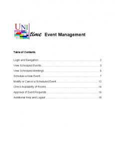 Event Management. Login and Navigation View Scheduled Events View Scheduled Meetings Schedule a New Event... 7