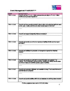 Event Management PinkVERIFY