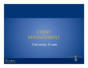 EVENT MANAGEMENT. University Events