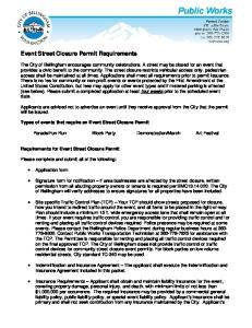 Event Street Closure Permit Requirements