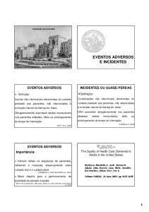 EVENTOS ADVERSOS E INCIDENTES