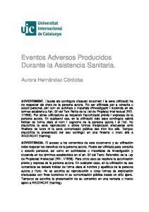 Eventos Adversos Producidos Durante la Asistencia Sanitaria