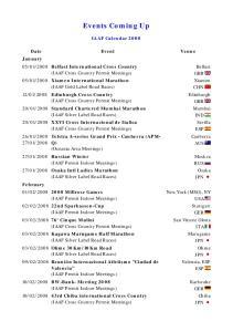 Events Coming Up. IAAF Calendar 2008
