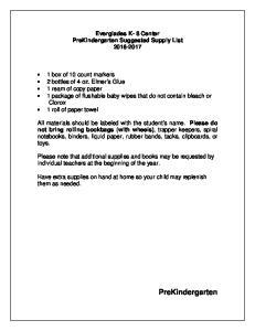 Everglades K- 8 Center PreKindergarten Suggested Supply List