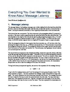 Everything You Ever Wanted to Know About Message Latency