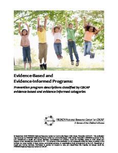 Evidence Based and Evidence Informed Programs: