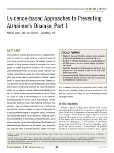 Evidence-based Approaches to Preventing Alzheimer s Disease, Part 1