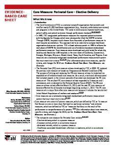 EVIDENCE- BASED CARE SHEET