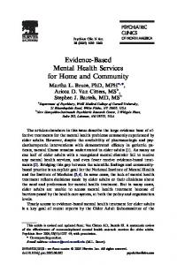Evidence-Based Mental Health Services for Home and Community