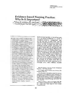 Evidence-based Nursing Practice: Why Is It Important?