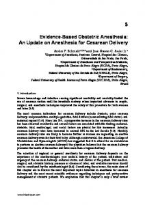 Evidence-Based Obstetric Anesthesia: An Update on Anesthesia for Cesarean Delivery