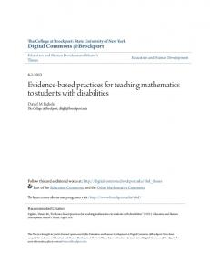 Evidence-based practices for teaching mathematics to students with disabilities