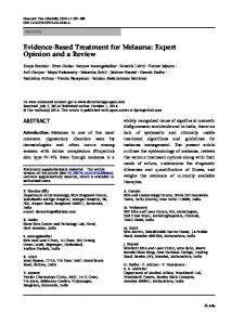 Evidence-Based Treatment for Melasma: Expert Opinion and a Review