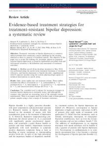 Evidence-based treatment strategies for treatment-resistant bipolar depression: a systematic review
