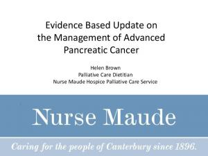 Evidence Based Update on the Management of Advanced Pancreatic Cancer