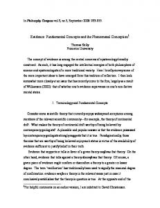 Evidence: Fundamental Concepts and the Phenomenal Conception 1