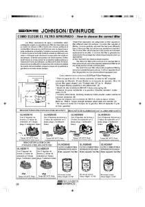 EVINRUDE. COMO ELEGIR EL FILTRO APROPIADO - How to choose the correct filter BRACKETS DE ALUMINIODIE CAST ALUMINUM BRACKETS