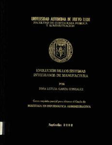 EVOLUCION DE LOS SISTEMAS INTEGRADOS DE MANUFACTURA