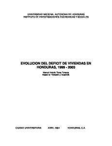 EVOLUCION DEL DEFICIT DE VIVIENDAS EN HONDURAS,