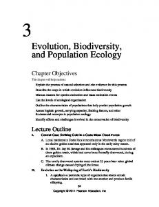 Evolution, Biodiversity, and Population Ecology