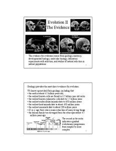 Evolution II The Evidence