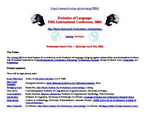 Evolution of Language: Fifth International Conference, 2004