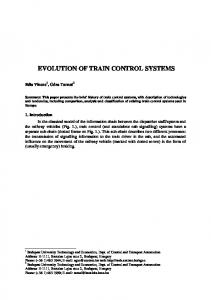 EVOLUTION OF TRAIN CONTROL SYSTEMS
