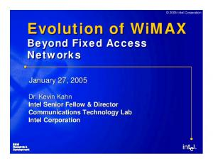 Evolution of WiMAX Beyond Fixed Access Networks