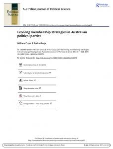 Evolving membership strategies in Australian political parties
