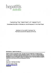 Evolving the Treatment of Hepatitis C: