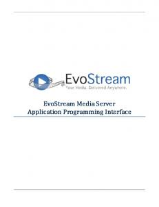 EvoStream Media Server Application Programming Interface