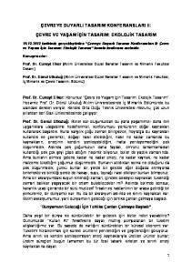 ÇEVREYE DUYARLI TASARIM KONFERANSLARI II: ÇEVRE VE YAŞAM İÇİN TASARIM: EKOLOJİK TASARIM