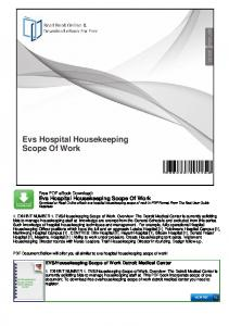 Evs Hospital Housekeeping Scope Of Work