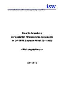 Ex-ante-Bewertung der geplanten Finanzierungsinstrumente im OP-EFRE Sachsen-Anhalt