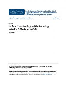 Ex Ante Crowdfunding and the Recording Industry: A Model for the U.S