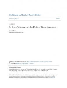 Ex Parte Seizures and the Defend Trade Secrets Act