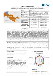 Ex Post-Evaluation Brief UZBEKISTAN: Electrification of the Tashkent-Angren Railway Line