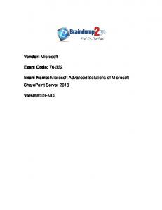 Exam Name: Microsoft Advanced Solutions of Microsoft SharePoint Server 2013