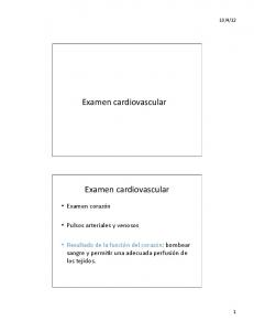 Examen cardiovascular. Examen cardiovascular