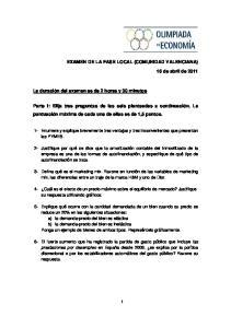 EXAMEN DE LA FASE LOCAL (COMUNIDAD VALENCIANA)