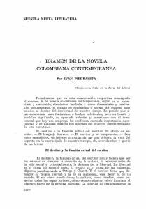 EXAMEN DE LA NOVELA COLOMBIANA CONTEMPORANEA