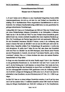 Examensklausurenkurs Zivilrecht. Klausur vom 14. Dezember 2012