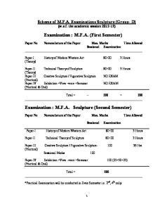 Examination : M.F.A. (First Semester) Examination : M.F.A. Sculpture (Second Semester)