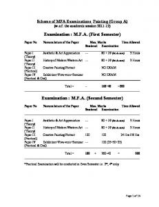 Examination : M.F.A. (First Semester) Examination : M.F.A. (Second Semester)