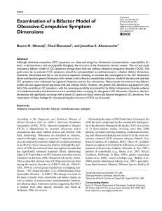 Examination of a Bifactor Model of Obsessive-Compulsive Symptom Dimensions