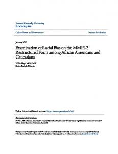 Examination of Racial Bias on the MMPI-2 Restructured Form among African Americans and Caucasians