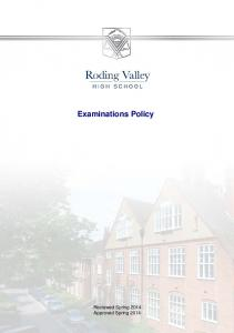 Examinations Policy Reviewed Spring 2014 Approved Spring 2014
