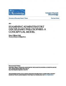 EXAMINING ADMINITRATORS' DISCIPLINARY PHILOSOPHIES: A CONCEPTUAL MODEL