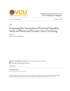 Examining the Association of Fruit and Vegetable intake and Breast and Prostate Cancer Screening