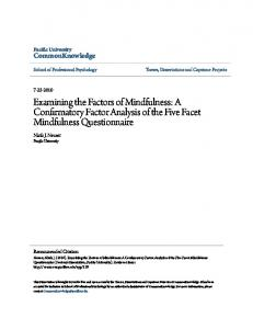 Examining the Factors of Mindfulness: A Confirmatory Factor Analysis of the Five Facet Mindfulness Questionnaire